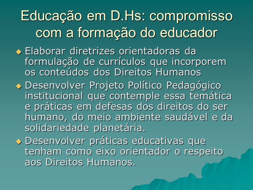 Educação em D.Hs: compromisso com a formação do educador