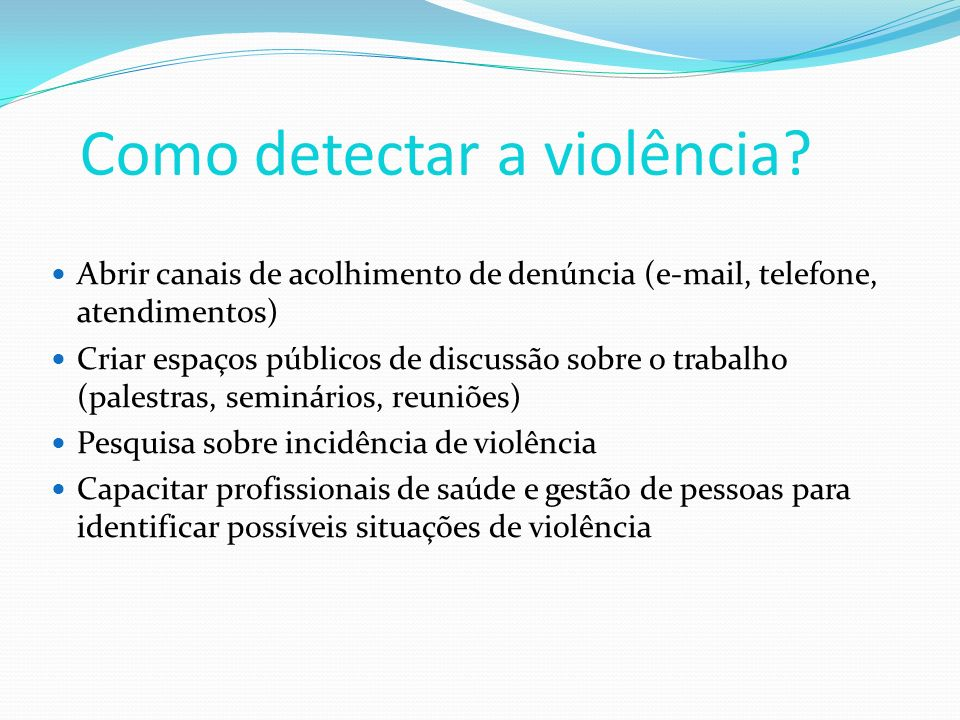 Como detectar a violência