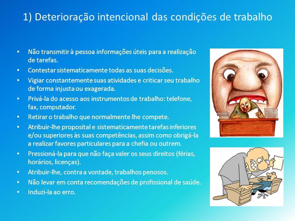1) Deterioração intencional das condições de trabalho