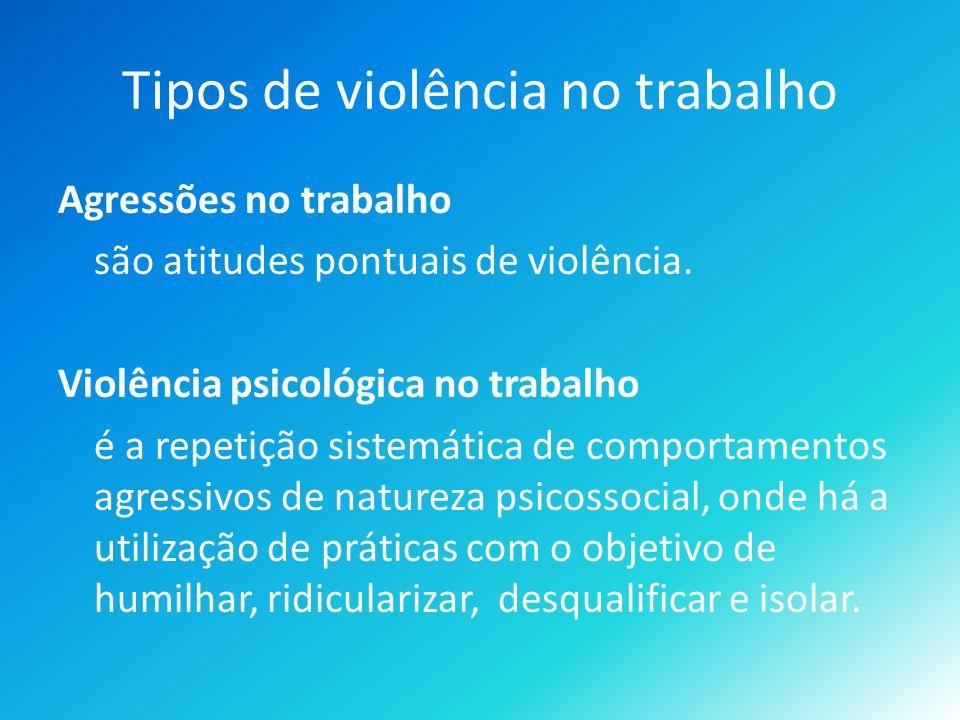 Tipos de violência no trabalho