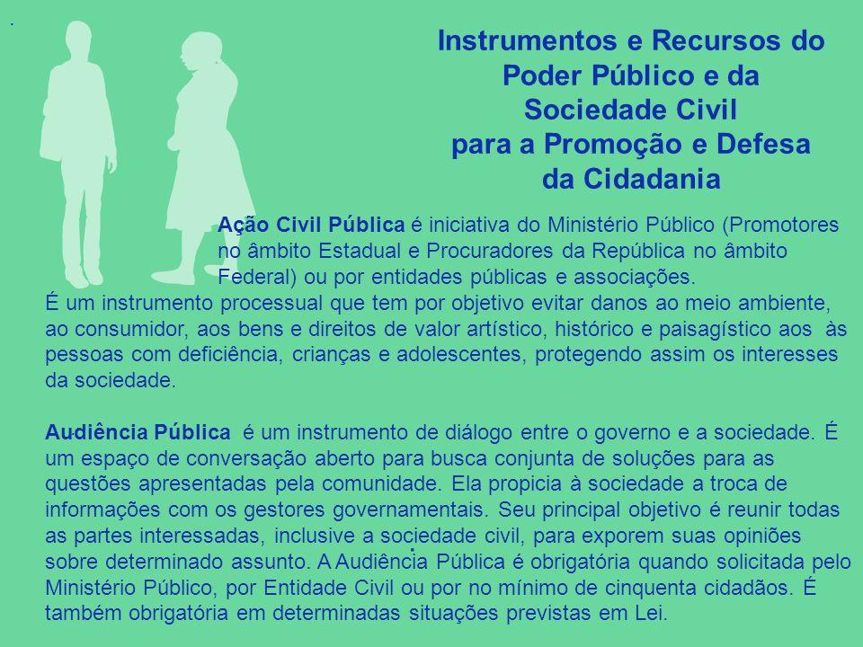 Instrumentos e Recursos do Poder Público e da Sociedade Civil