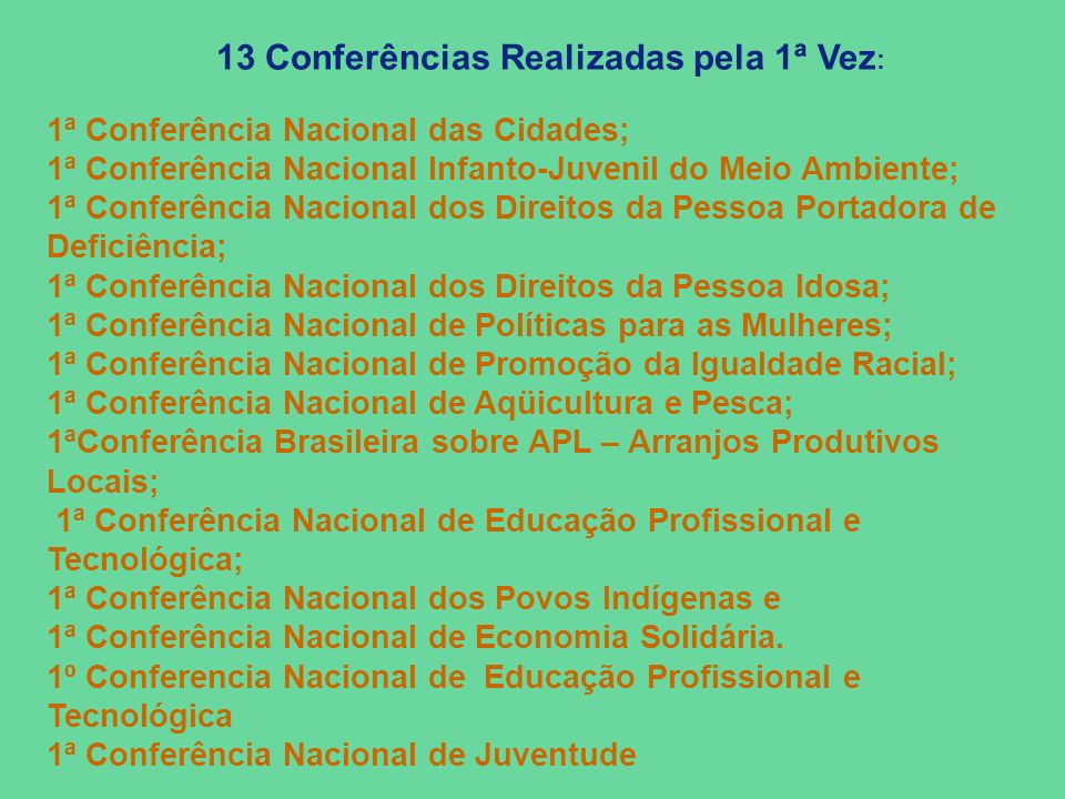 13 Conferências Realizadas pela 1ª Vez: