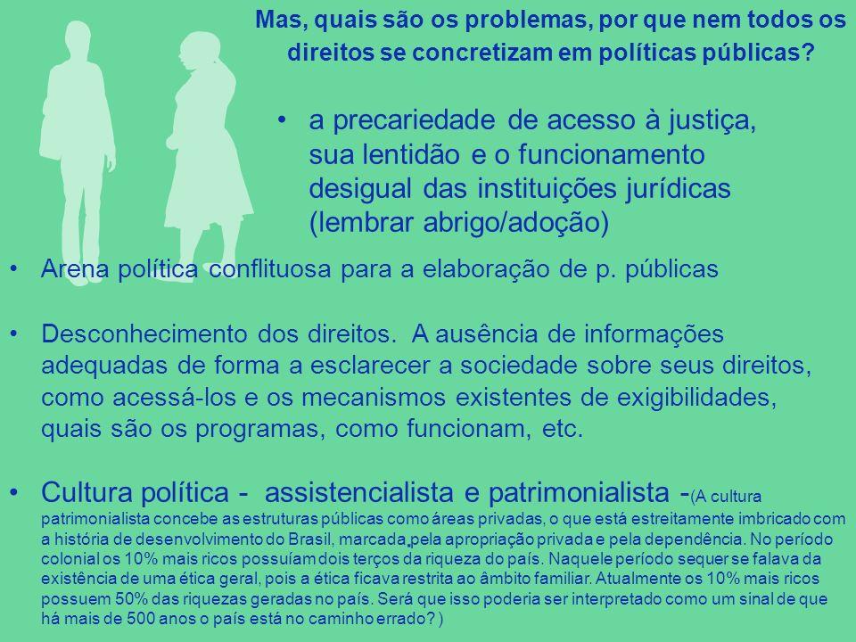 Mas, quais são os problemas, por que nem todos os direitos se concretizam em políticas públicas