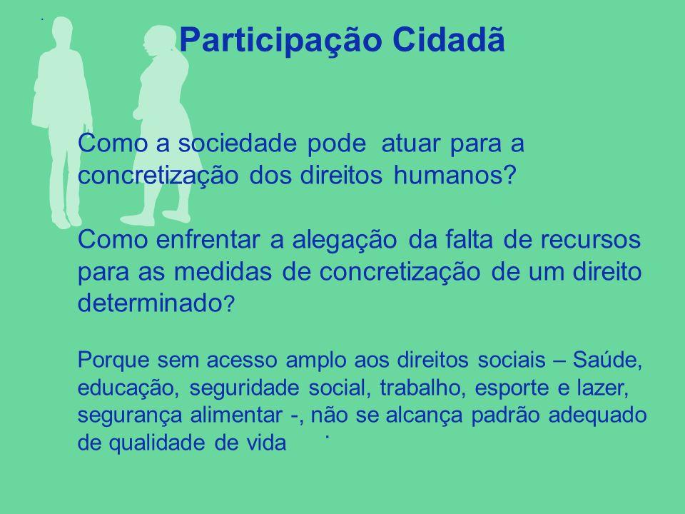. Participação Cidadã. Como a sociedade pode atuar para a concretização dos direitos humanos