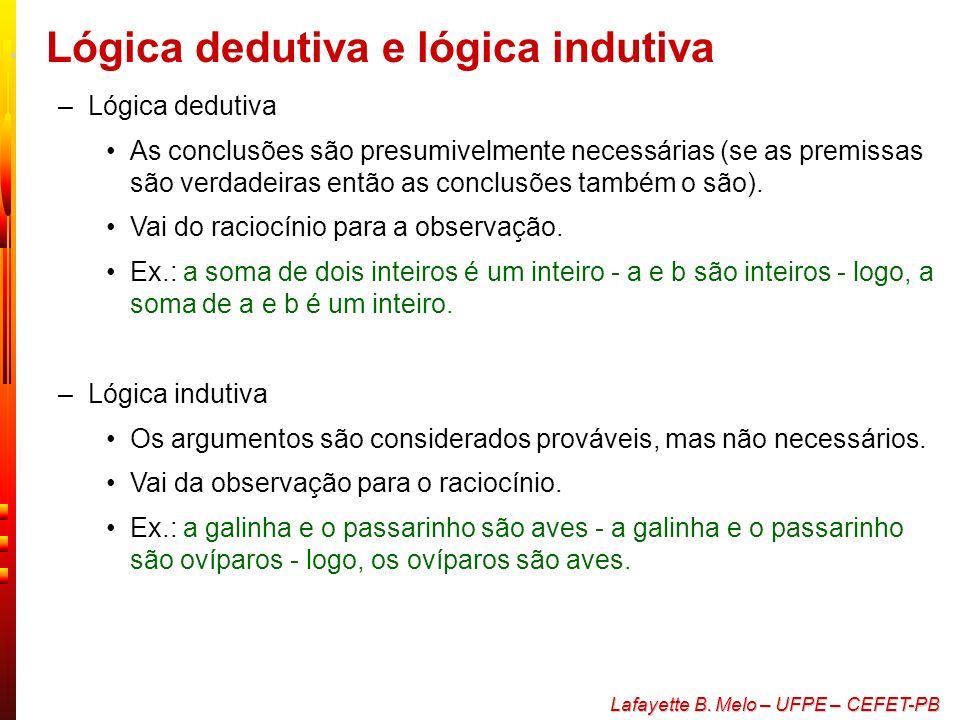 Lógica dedutiva e lógica indutiva