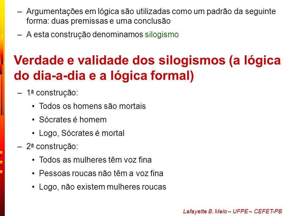 Argumentações em lógica são utilizadas como um padrão da seguinte forma: duas premissas e uma conclusão