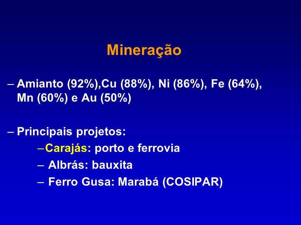 MineraçãoAmianto (92%),Cu (88%), Ni (86%), Fe (64%), Mn (60%) e Au (50%) Principais projetos: Carajás: porto e ferrovia.