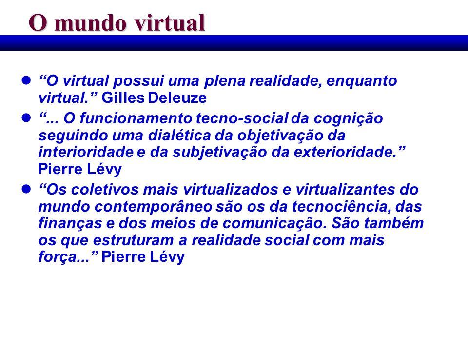 O mundo virtual O virtual possui uma plena realidade, enquanto virtual. Gilles Deleuze.