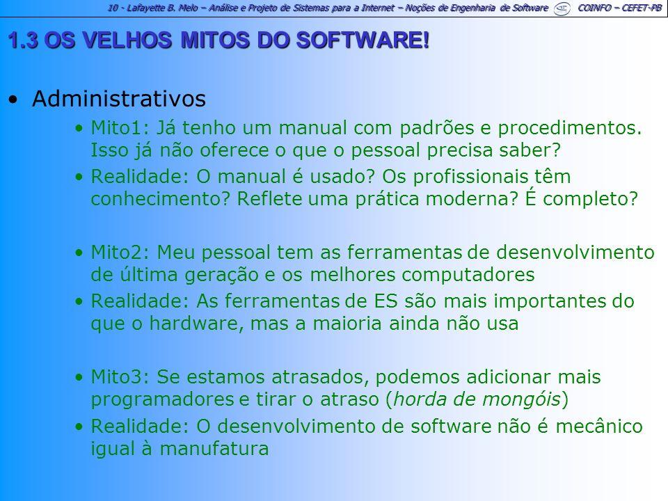 1.3 OS VELHOS MITOS DO SOFTWARE! Administrativos