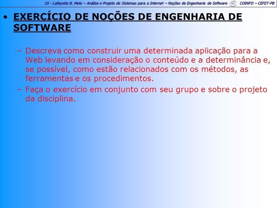 EXERCÍCIO DE NOÇÕES DE ENGENHARIA DE SOFTWARE
