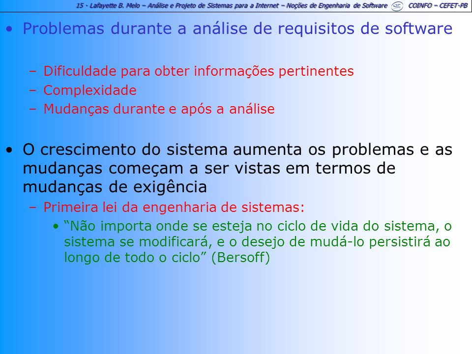Problemas durante a análise de requisitos de software