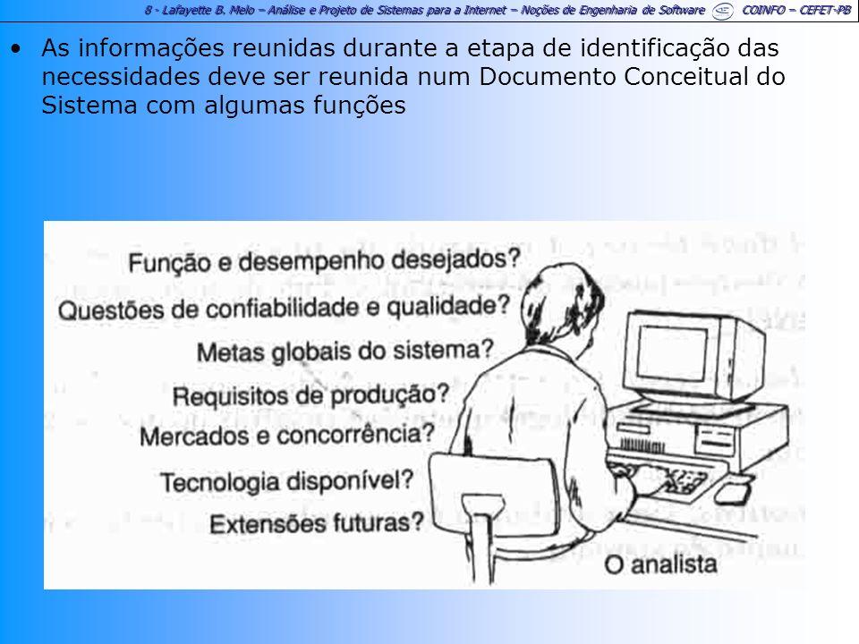 As informações reunidas durante a etapa de identificação das necessidades deve ser reunida num Documento Conceitual do Sistema com algumas funções
