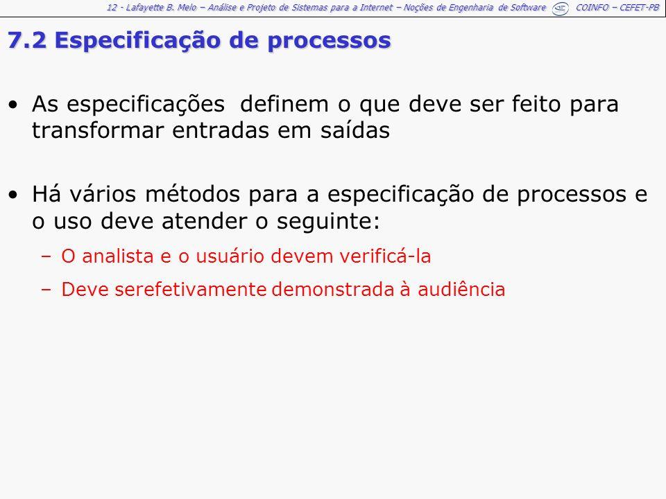 7.2 Especificação de processos