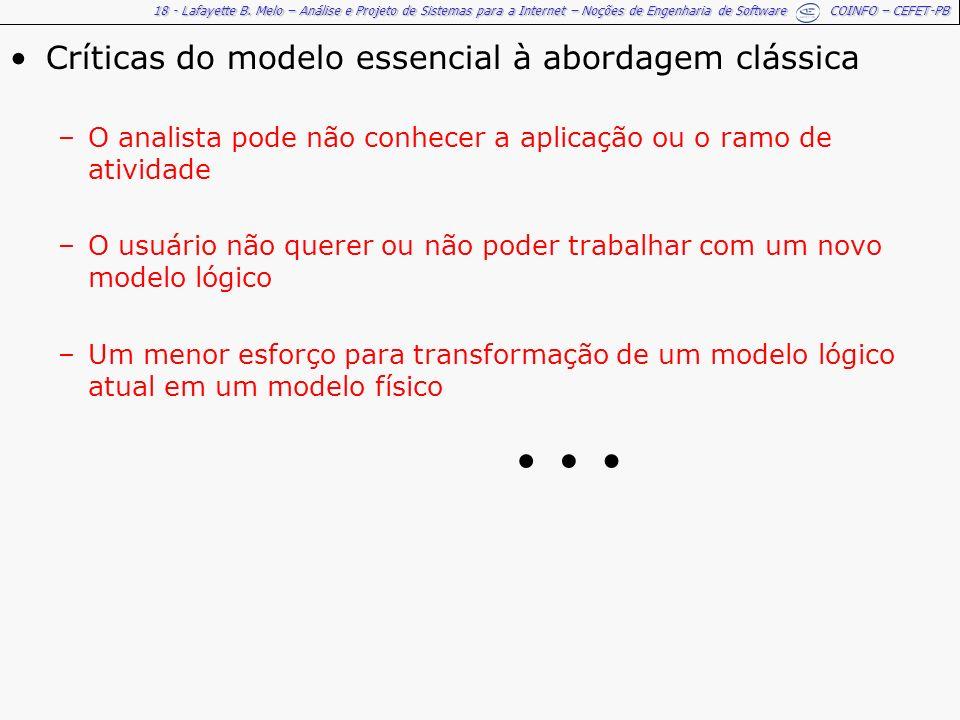 … Críticas do modelo essencial à abordagem clássica