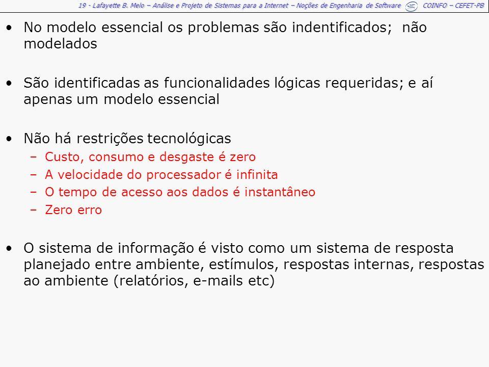 No modelo essencial os problemas são indentificados; não modelados