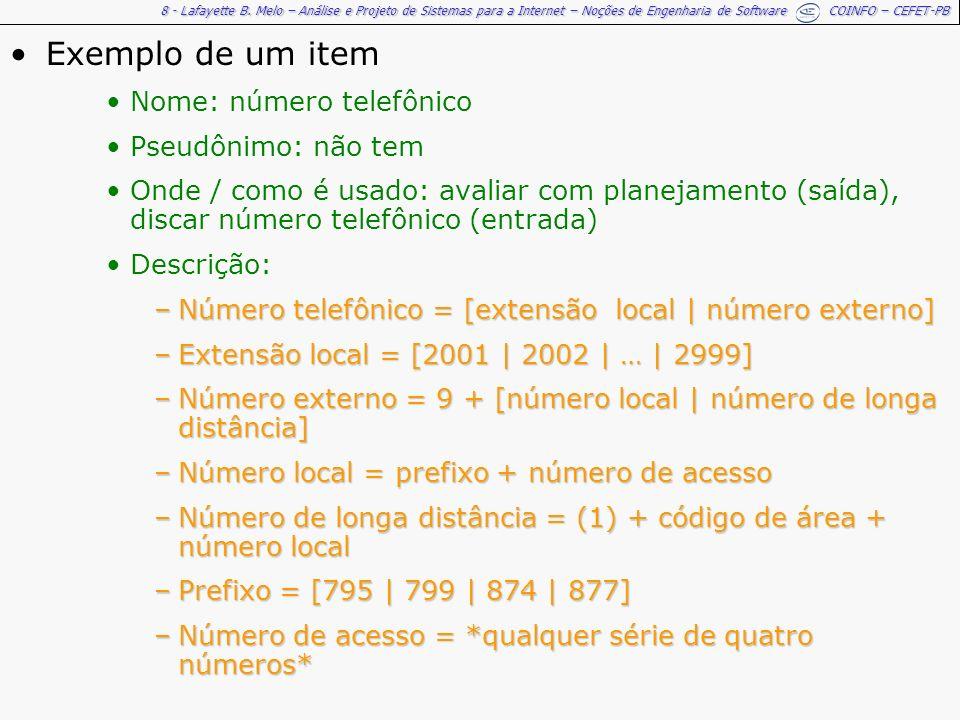 Exemplo de um item Nome: número telefônico Pseudônimo: não tem