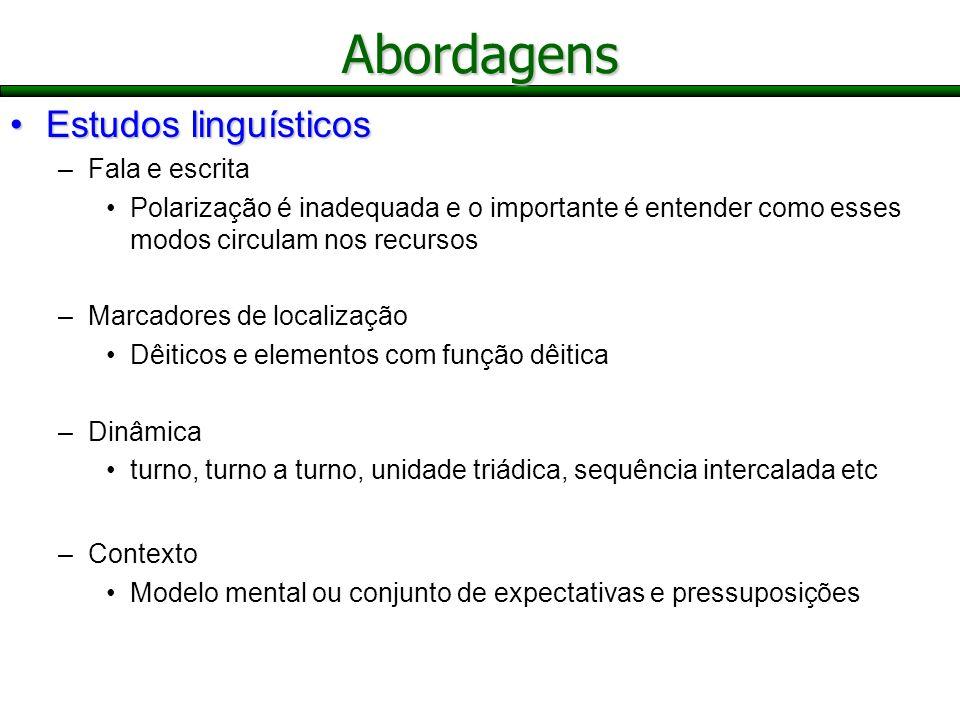 Abordagens Estudos linguísticos Fala e escrita