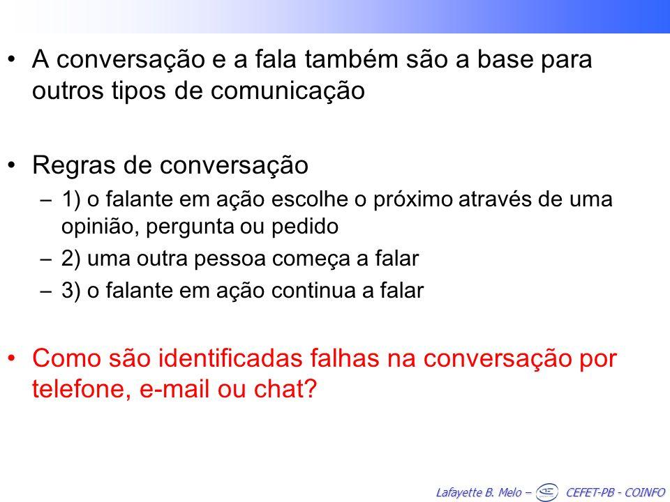 A conversação e a fala também são a base para outros tipos de comunicação