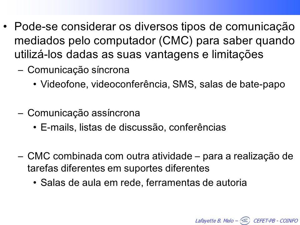 Pode-se considerar os diversos tipos de comunicação mediados pelo computador (CMC) para saber quando utilizá-los dadas as suas vantagens e limitações