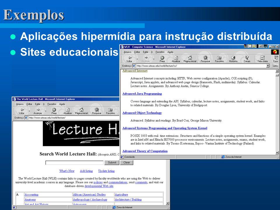 Exemplos Aplicações hipermídia para instrução distribuída