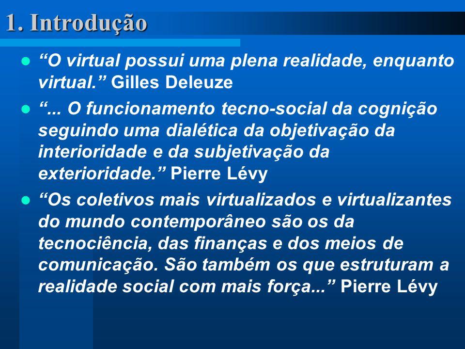 1. Introdução O virtual possui uma plena realidade, enquanto virtual. Gilles Deleuze.
