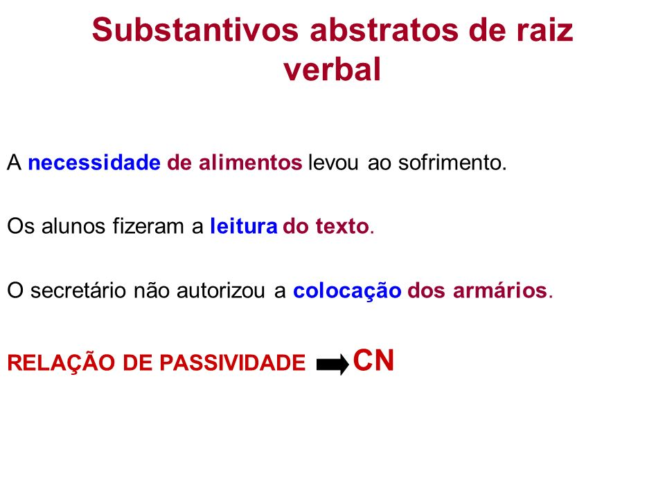 Substantivos abstratos de raiz verbal