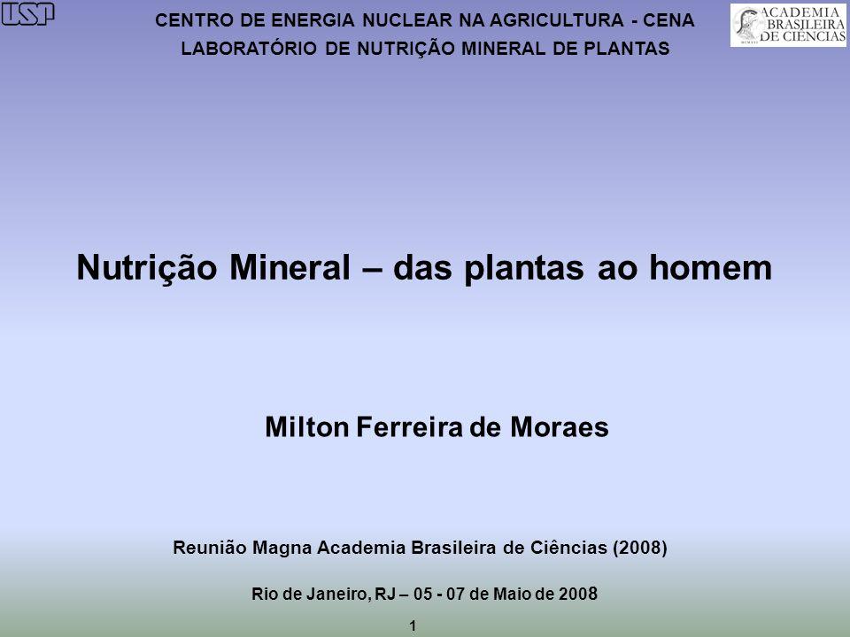 Nutrição Mineral – das plantas ao homem