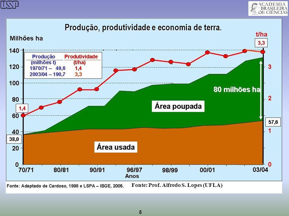 Produção, produtividade e economia de terra.