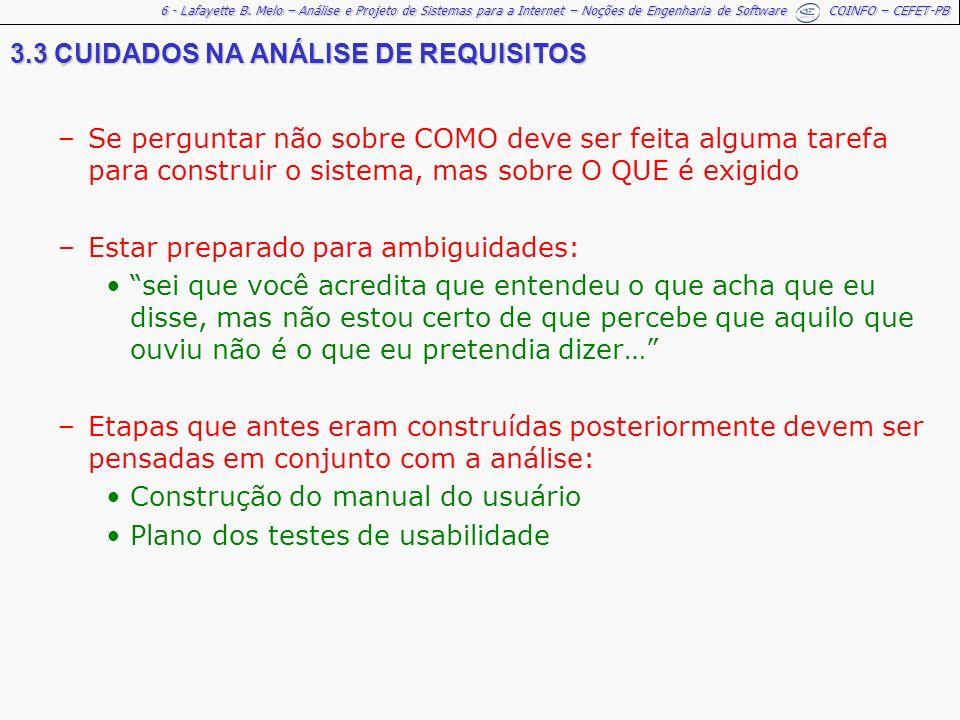 . 3.3 CUIDADOS NA ANÁLISE DE REQUISITOS