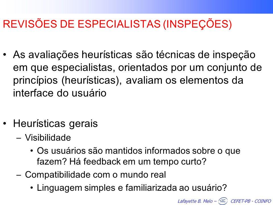 REVISÕES DE ESPECIALISTAS (INSPEÇÕES)