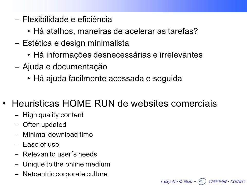 Heurísticas HOME RUN de websites comerciais