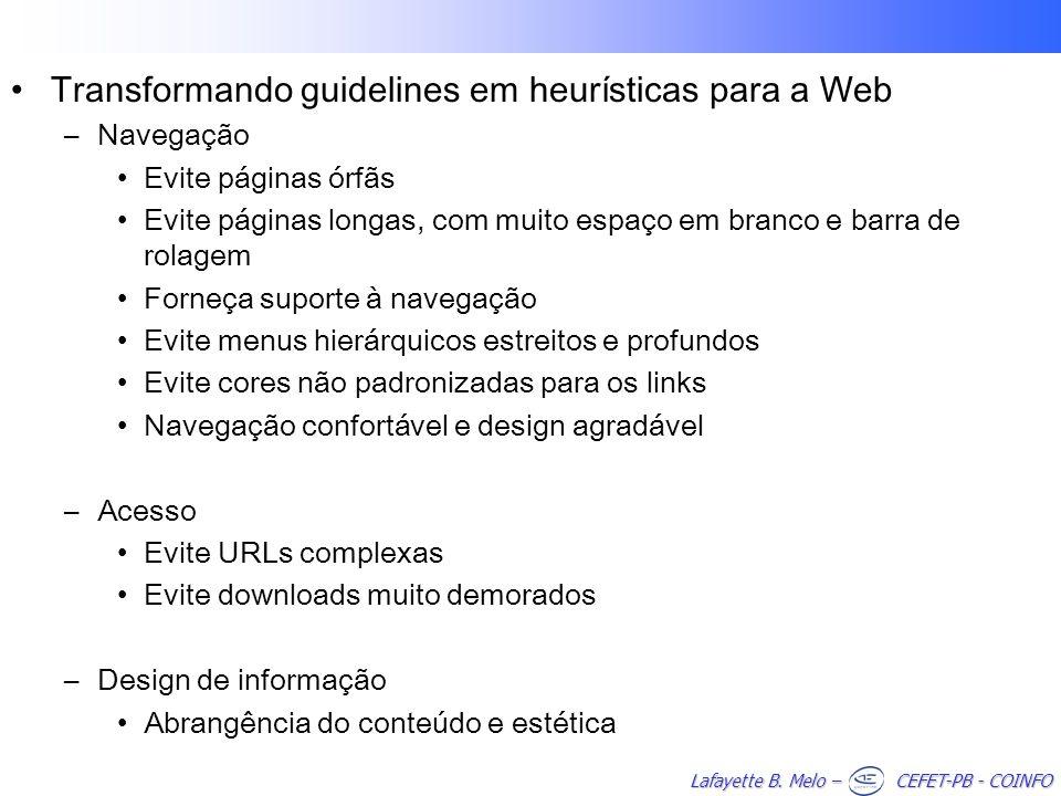 Transformando guidelines em heurísticas para a Web