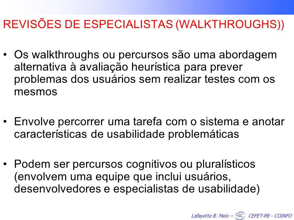 REVISÕES DE ESPECIALISTAS (WALKTHROUGHS))