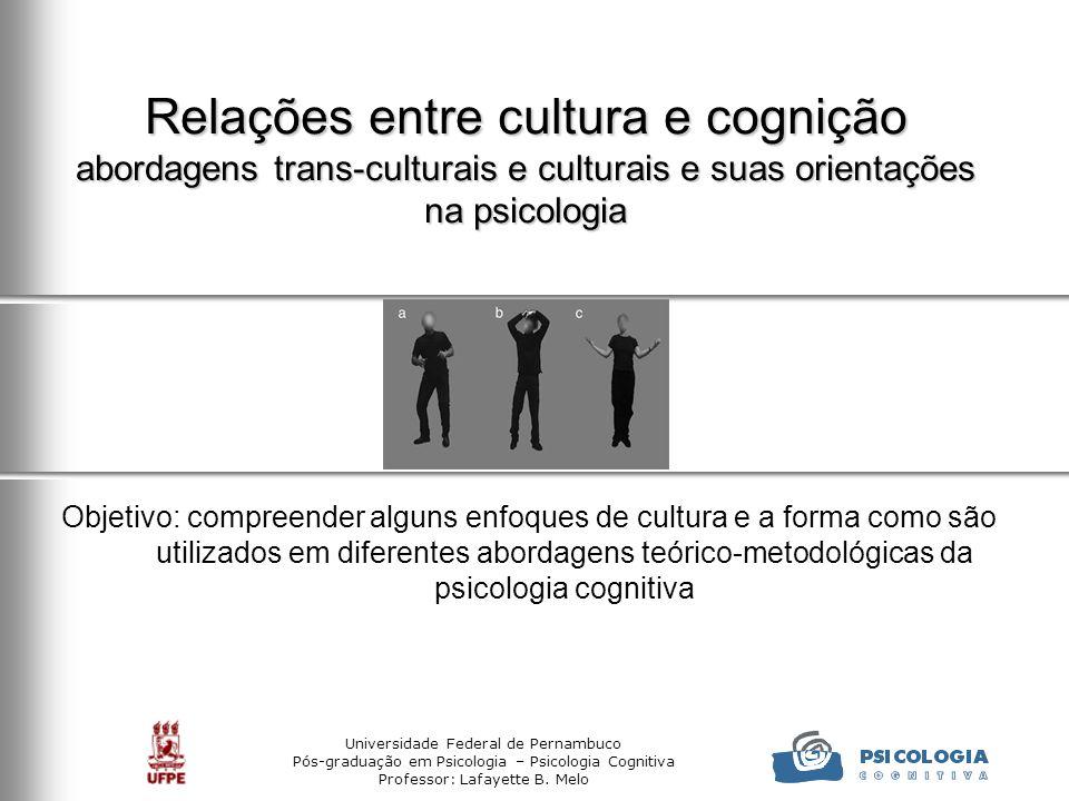 Relações entre cultura e cognição abordagens trans-culturais e culturais e suas orientações na psicologia