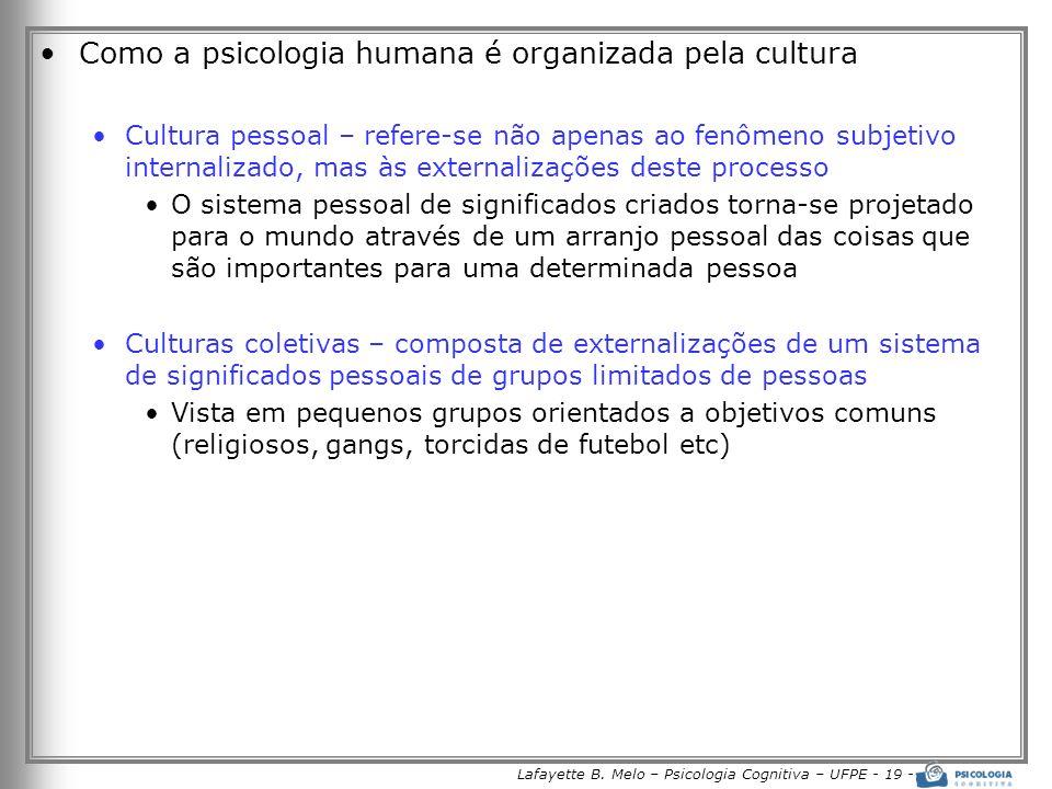 Lafayette B. Melo – Psicologia Cognitiva – UFPE - 19 -