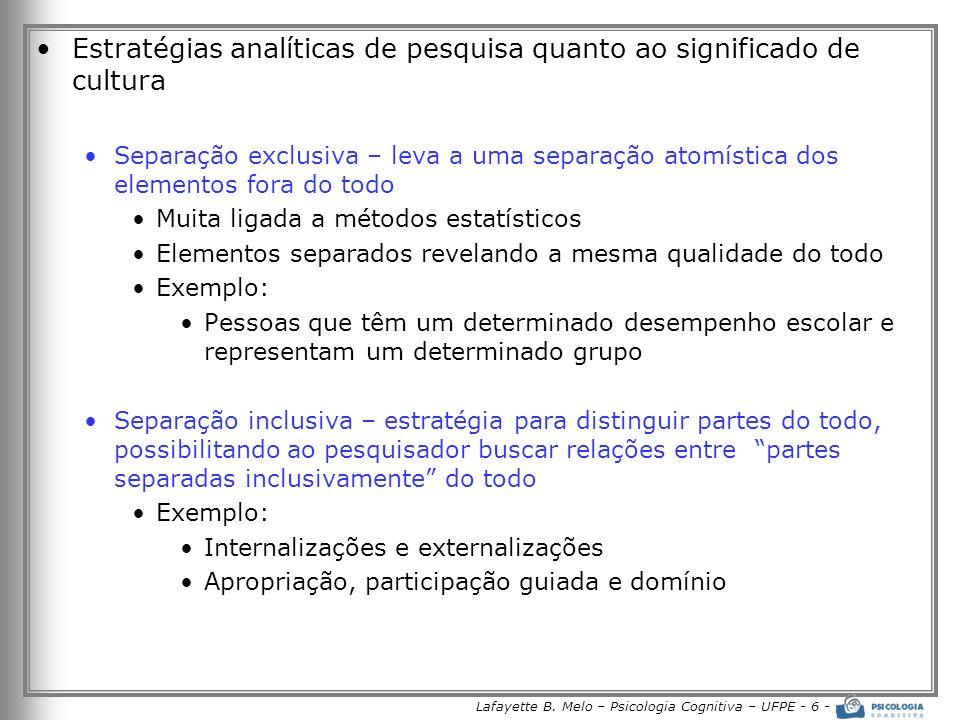 Lafayette B. Melo – Psicologia Cognitiva – UFPE - 6 -