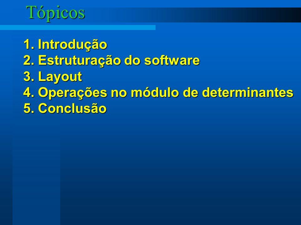 Tópicos 1. Introdução 2. Estruturação do software 3. Layout