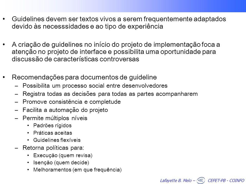 Recomendações para documentos de guideline