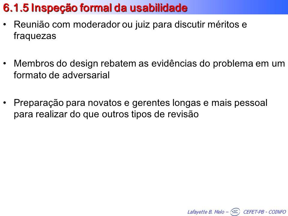 6.1.5 Inspeção formal da usabilidade