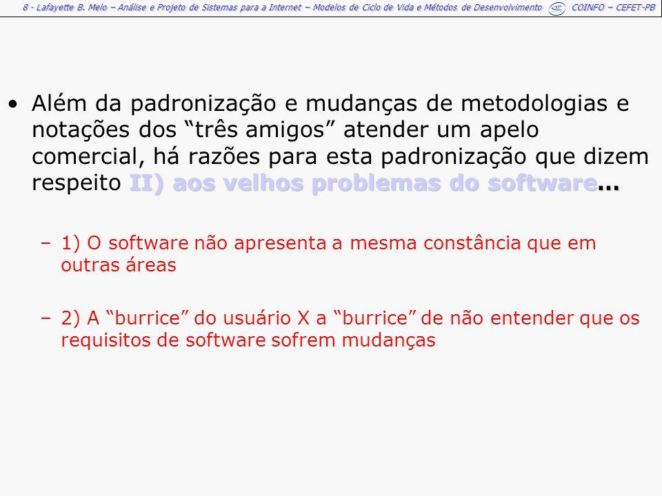 Além da padronização e mudanças de metodologias e notações dos três amigos atender um apelo comercial, há razões para esta padronização que dizem respeito II) aos velhos problemas do software…
