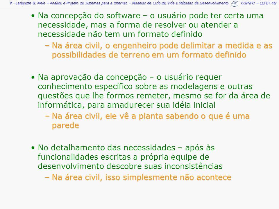 Na concepção do software – o usuário pode ter certa uma necessidade, mas a forma de resolver ou atender a necessidade não tem um formato definido