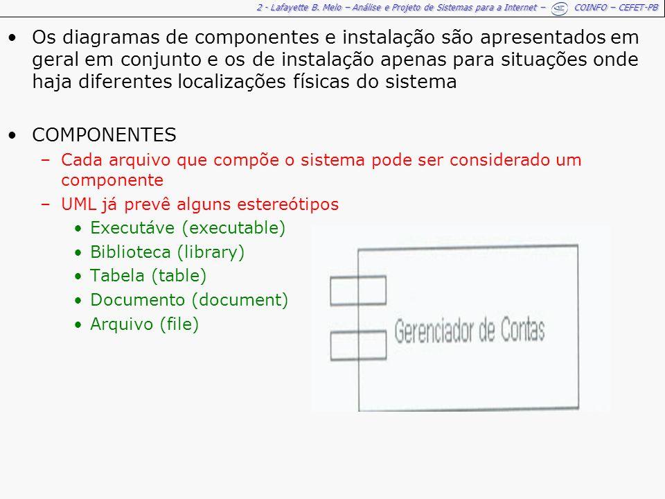 Os diagramas de componentes e instalação são apresentados em geral em conjunto e os de instalação apenas para situações onde haja diferentes localizações físicas do sistema