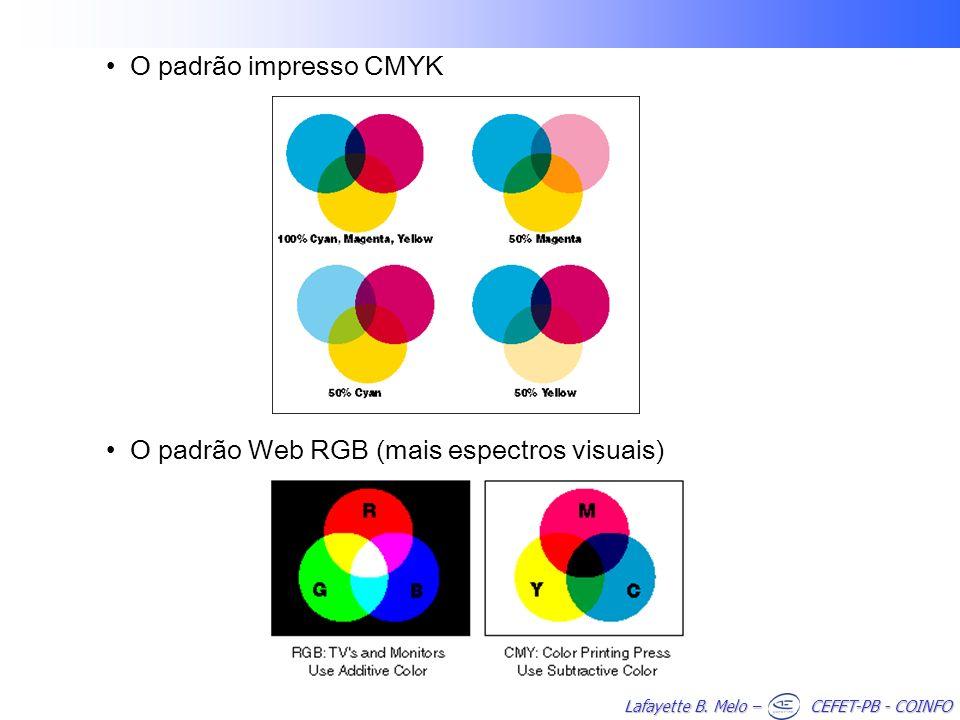 O padrão impresso CMYK O padrão Web RGB (mais espectros visuais)