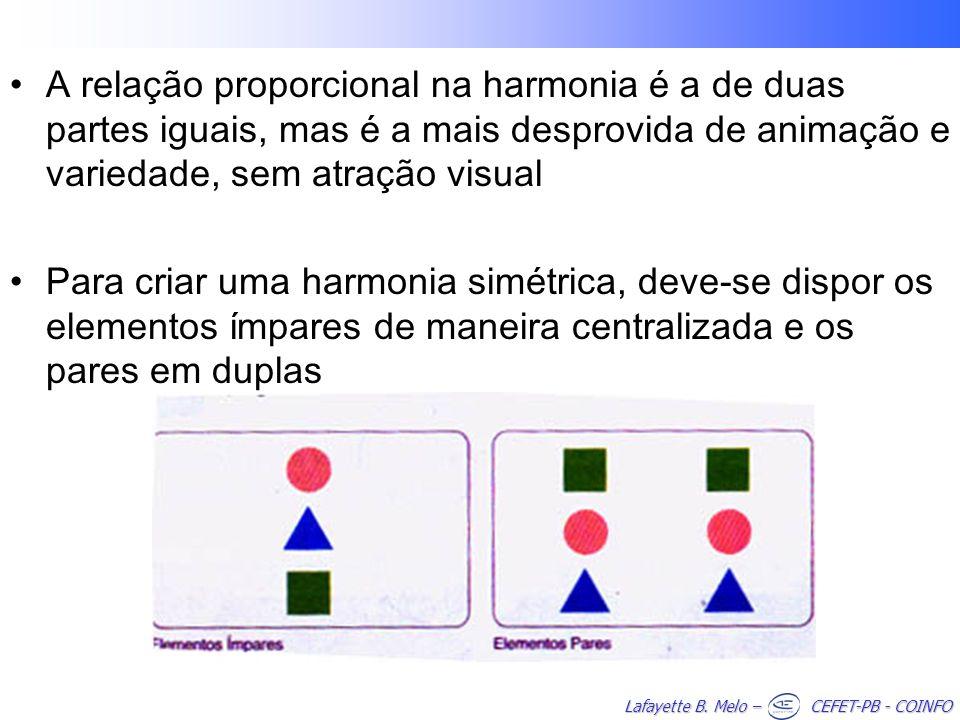 A relação proporcional na harmonia é a de duas partes iguais, mas é a mais desprovida de animação e variedade, sem atração visual
