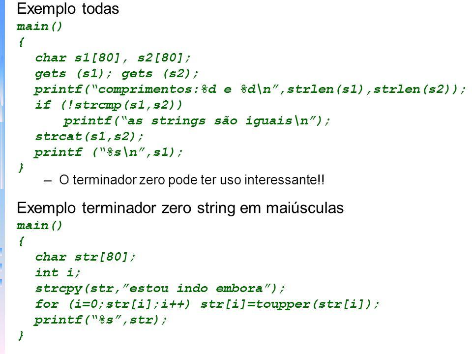 Exemplo terminador zero string em maiúsculas