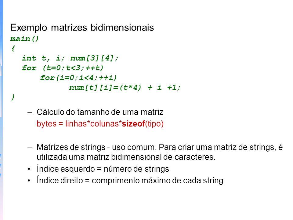 Exemplo matrizes bidimensionais