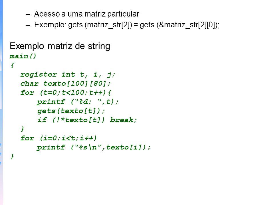 Exemplo matriz de string
