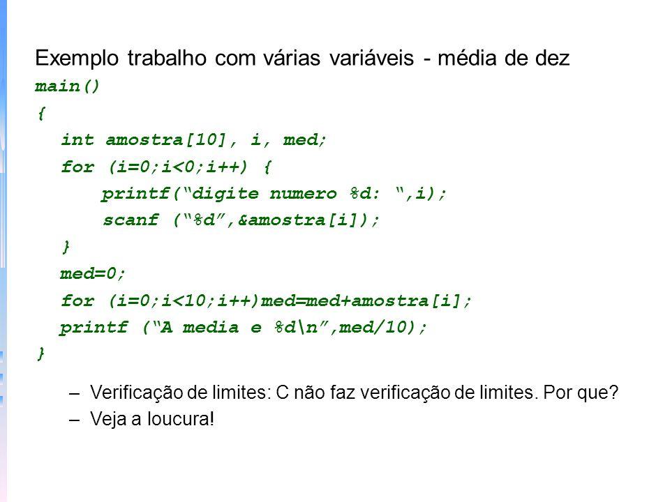 Exemplo trabalho com várias variáveis - média de dez