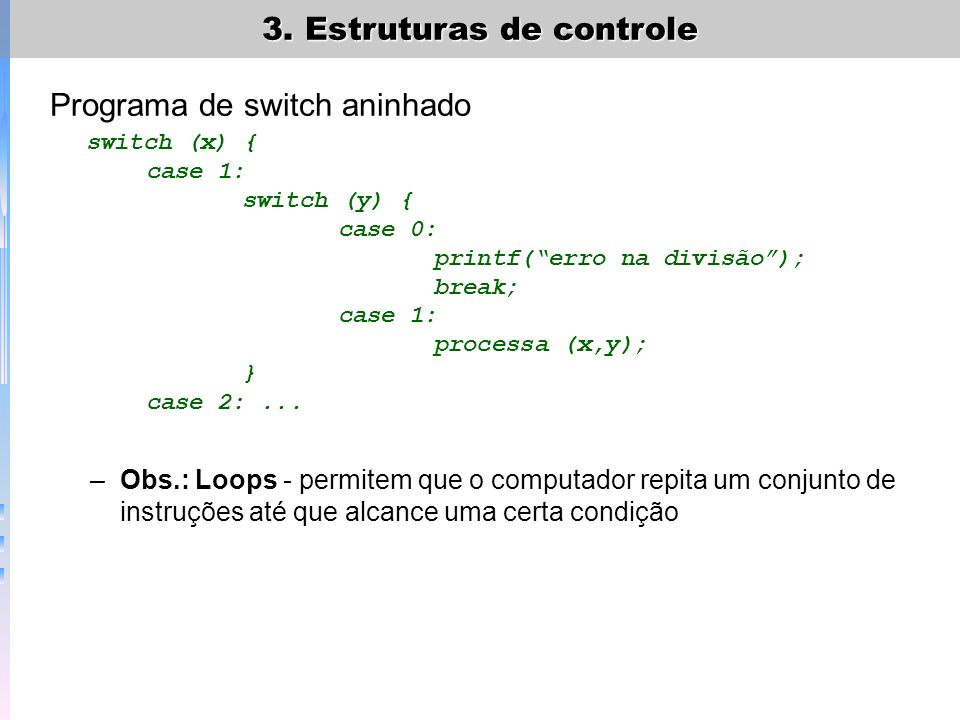 Programa de switch aninhado