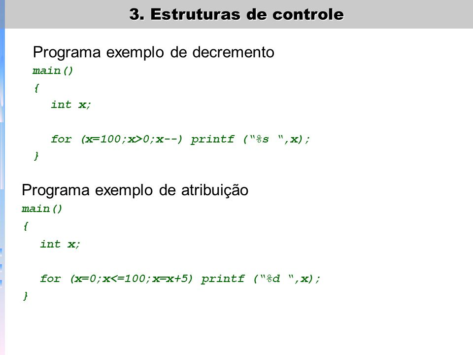 Programa exemplo de decremento